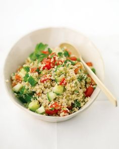 Tabbouleh (bulgar wheat, parsley, tomatoes, cucumbers, lemon & olive oil)  Had this at a restaurant today and loved it. It creates the kind of fullness that subsides easily and leaves you feeling refreshed.