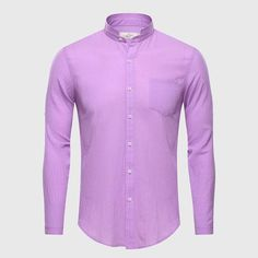 Ultrathin See Through Shirts Men Summer Solid Plain Mandarin Chinese Half Collar Cotton Long Sleeve Society Classic Grandad