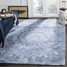 Safavieh Handmade Marquee Modern & Contemporary Blue / Ivory Wool Rug - X X - Blue/Ivory) (Polyester, Medallion) Floral Area Rugs, Blue Area Rugs, Blue Rugs, Online Home Decor Stores, Online Shopping, Blue Ivory, Light Beige, Cool Rugs, Wool Area Rugs