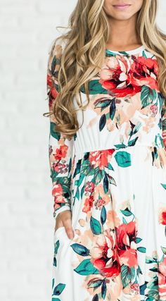 Spring Floral Dress - Ivory \ Mindy Mae's Market  \\  floral, floral dress, dress, cute outfit, spring dress, pretty, long hair, ootd, blonde, outfit idea, style, fashion, shopping, boutique