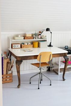 So Love this TABLE...and chair, and whole workspace!