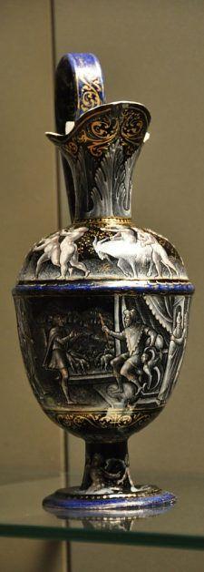 Aiguière  «Joseph reçoit l'intendance d'Égypte»  Entourage de Pierre Reymond  Limoges, seconde moitié du XVIe siècle