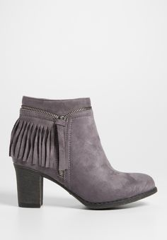 Giuliana faux suede heeled bootie with zipper and fringe (original price, $44.00) available at #Maurices