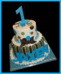 cute for little boy, but you need a big cup cake on top just for him so he can get it all over his face! Baby Boy Cakes, Cakes For Boys, Beautiful Cakes, Amazing Cakes, 1st Bday Cake, Birthday Cakes, Birthday Parties, Birthday Ideas, Cool Baby Stuff