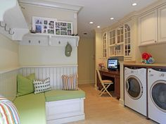The convenience of this room makes me want to scream with joy a little! Such cute design/decor.