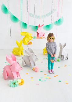 DIY Giant Origami Bunnies   Oh Happy Day!