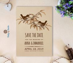 Bird Save the Date cards for wedding | Forest woodsy save the date invitations…