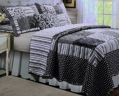 Black and White Striped Polka Dots Teen Quilt Bedding Set Full/Queen