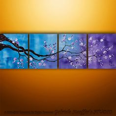 Original Modern  Asian Tree Blossom Textured Painting Art by Gabriela 64x20 Large