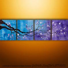 Original Modern  Asian Tree Blossom Textured Painting Art by Gabriela 64x20 Large