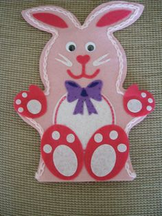 Felt Pink Bunny Rabbit Girls Hand Puppet. Hand Made. Suitable for Children over…