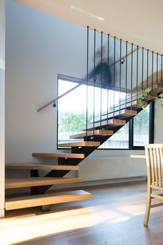 Treetop House By Ben Callery Architects In Melbourne, Vic, Australia Stair Railing Design, Home Stairs Design, Staircase Railings, Interior Stairs, Modern House Design, Home Interior Design, Interior Architecture, Modern Stairs Design, Spiral Staircases