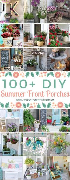 Getting ready for summer? Brighten up your front porch for the season with these creative summer front porch ideas. From colorful planers to summer wreaths and cheery porch displays, there is plenty of inspiration for DIY projects. Front Porch Flowers, Summer Front Porches, Summer Porch Decor, Small Front Porches, Diy Porch, Diy Front Porch Ideas, Front Porch Plants, Craftsman Style Porch, Diy Balkon