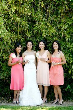 bridesmaids coordinating but not matching