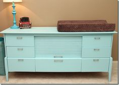 Featured Friend: Natalie's Nursery Teal Nursery, Nursery Themes, Brown Paint Colors, Dresser Refinish, Paint Stripes, Blue Rooms, Kids Decor, Home Decor, Nursery Inspiration