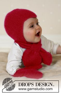 Baby Aviator Hat - Hat, scarf and mittens in Alpaca - Free pattern by DROPS Design Baby Knitting Patterns, Baby Hats Knitting, Knitting For Kids, Baby Patterns, Knitted Hats, Drops Design, Baby Clothes Blanket, Drops Baby, Baby Barn