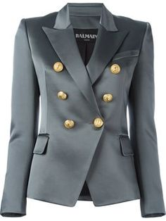 A fashion look from August 2016 featuring grey dresses, blazer jacket and leather sandals. Balmain Jacket, Balmain Blazer, Gray Jacket, Jacket Style, Blazer Jacket, Look Blazer, Gray Blazer, Couture Coats, Leder Outfits