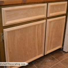 FINALLY someone shows how to make cabinet doors without special tools! I'd love to make these when we build custom bookshelves in our living room. DIY Cabinet Doors And Drawer Fronts Using No Special Tools Diy Cabinet Doors, Diy Cabinets, Kitchen Cabinets, Base Cabinets, How To Make Cabinets, Cabinet Door Makeover, Hallway Cabinet, Cabinet Trim, Cabinet Refacing