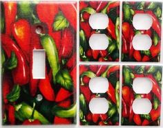 Chili Pepper Kitchen Wall Decor Light Switch Outlet Plate Set 1&4 Houseware.