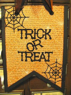 HALLOWEEN Door Hanger with Glittered Trick or Treat and Spider Webs by Stacy Marie