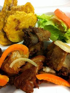 I dare you to taste this - Fried Plantain with fried Turkey-  Goat- or  Fried Pork  or GRIYO (in Haiti Creole) https://www.facebook.com/1tastybakery