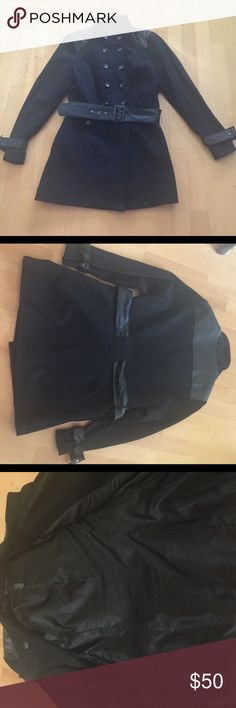 INC faux leather/polyester black car jacket size L This beautiful faux leather/polyester jacket size Large was previously worn and loved.   Now it is looking for a new home 😏.   The faux leather is located around parts of the neck and shoulders and on the fabric on the end of the sleeves and belt.  Shell of the jacket is a rayon/polyester/spandex combo that feels soft to the touch.    Working buttons in the front with 100% polyester lining.   Please note in pic 4 there is a small crease of…