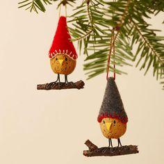 Kork-Vogel Figuren-basteln Hut Filz Weihnachten-Baum Deko