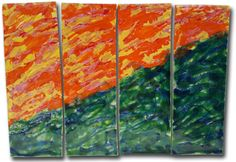 """""""Sunny Hill"""" Abstract 4-panel Design 25""""x34"""" LP28"""