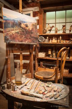 Western artist Charlie Russell's log cabin studio, at the C.M. Russell Museum in Great Falls, Montana.