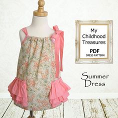 Pillowcase dress pattern, Girls sewing pattern PDF, Childrens sewing pattern, Baby sewing pattern, Easy beginner, SUMMER DRESS. $7.50, via Etsy.