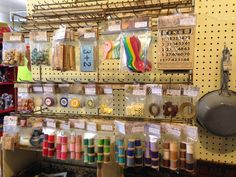 GREAT example of packaging antique/vintage items for resale - old wood spools, ephemera...kudos to this booth owner. Antique Store Displays, Antique Mall Booth, Antique Booth Ideas, Vintage Display, Vendor Displays, Craft Fair Displays, Display Ideas, Retail Displays, Antique Market