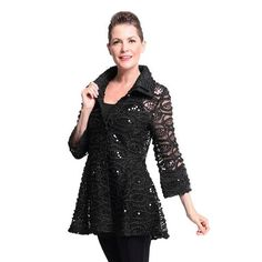 Damee NYC Ropes and Sequins Double Collar Jacket in Black - 2147