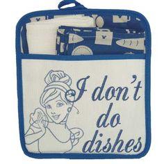 Your WDW Store - Disney Kitchen Towel Potholder Set - Cinderella I don't do dishes