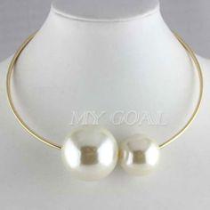 Oversized Pearl Choker BIB Statement Collar Necklace Chunky Chain Bracelet Ring | eBay