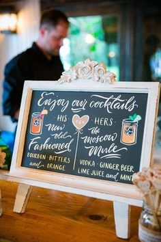 His and Hers cocktails! // Brides: Wedding Signature Cocktail Sign Ideas