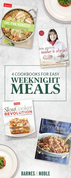 Easy weeknight meals are totally possible when you have these cookbooks by your side. From one-pan dishes to slow cooker favorites to make ahead meals - discover top tips and recipes that will make your weeknights simple and delicious. Shop cookbooks at barnesandnoble.com.