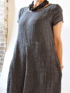 62082ee899 Shop Dresses - Anniberry Plus Size Smock Dress Summer Linen Plain Slack  Crew Neck Simple Casual