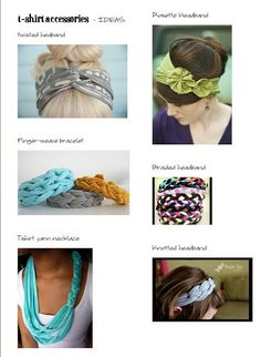 variety of easy crafts to make from tshirts - - Girls Camp Craft - Tshirt Crafts and Headbands Tutorial