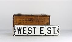 Old Street Sign, Vintage Street Sign, Metal Street Sign, Sign, Traffic Sign, Black And White Street Sign, Industrial Decor, Rustic Decor by HuntandFound on Etsy