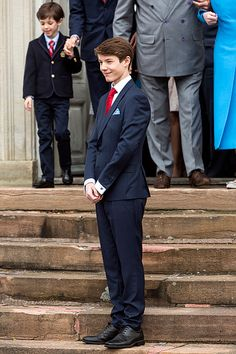 Prince Felix of Denmark, son of Prince Joachim and former wife Countess Alexandra, at the Fredensborg Palace church after his confirmation on April 1, 2017 in Fredensborg, Denmark. Prince Felix is 14 years old and number 8 in succession to the throne.
