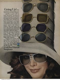 """thegroovyarchives:""""Cool-Ray Polaroid Sunglasses AdFrom the May, 1971 issue of 'Teen Magazine"""" Retro Vintage, Retro Pop, 1970s Sunglasses, Sunglasses Women, Vintage Sunglasses, 1970s Aesthetic, Cat Eye Colors, Fake Glasses, Glasses Frames"""
