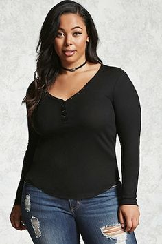 Forever - A lightweight ribbed knit henley top featuring a V-neckline with a raw-cut trim, long sleeves, and a curved hem. Beautiful Girl Image, Gorgeous Women, Curve Leggings, Sexy Outfits, Cute Outfits, Black Women, Sexy Women, Curvy Women Fashion, Women's Fashion