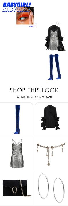 """baby keep running for me"" by world-princess ❤ liked on Polyvore featuring Aquazzura, E L L E R Y, Topshop, Versace, Gucci and Michael Kors"