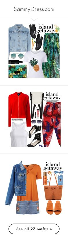 """""""SammyDress.com"""" by beebeely-look ❤ liked on Polyvore featuring StreetStyle, casual, sammydress, MANGO, Glamorous, See by Chloé, shu uemura, vacation, statementtshirt and islandgetaway"""