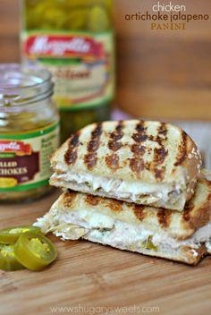Chicken Artichoke Panini: my favorite sandwich based off my favorite snack, artichoke jalapeno dip! #makethatsandwich @mezzetta