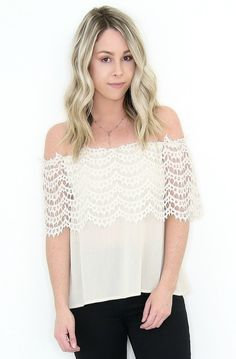 """Details OFF SHOULDER TOP WITH LACE TRIM DETAIL ON UPPER AREA  Content + Care - 100% RAYON - Hand Wash. Line Dry.     Size + Fit  - Model is5'4"""" and wearing a size Small - Measurements provided from a size small - Full Length: 19"""" - Chest: 26"""" - Waist: 36"""" Shop This Look"""