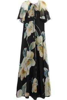 Lanvin - Floral-print Silk-chiffon Gown - Black - FR