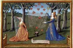 Tenture de Manière et Chère aimable. Enluminure tirée du Livre de Coeur d'Amour Epris. Provence, vers 1480-1485. BnF, ms. 24399, fol. 22v.