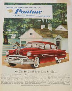 Vintage Pontiac Car Ad - 1953 Red Car Wall Art or Collectible, via Etsy.