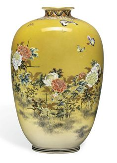 A Japanese Satsuma Vase  Signed Dainihon Taizan Sei and inscribed Taizan, Meiji period (late 19th century) Decorated in various coloured enamels and gilt with butterflies hovering over peonies in a garden on a mustard yellow ground, the neck with shippo-hanabishi and other geometric motifs